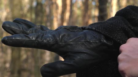 couro : Black Leather Gloves Close Up.
