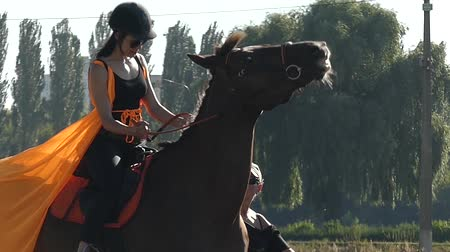 horse riding : the Girl in the Orange Hat and Cloak Riding a Horse in Slow Motion. Beautiful Action. Stock Footage