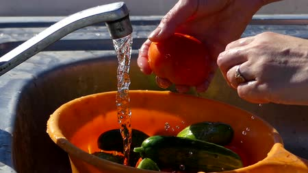 lavatório : Hand Wash Cucumbers and Tomatoes Under Water Tap. Close up Shot in the Real Time.