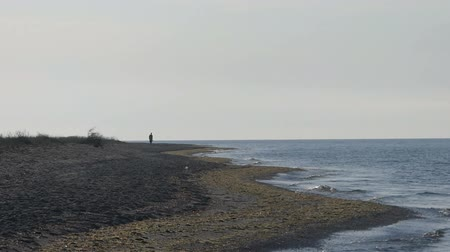 clear the table : A lonely tourist walks on the Black Sea beach Stock Footage
