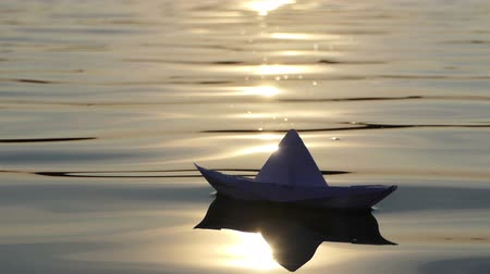 tekne : A lovely paper boat floats in a forest lake at sunset in slo-mo Stok Video