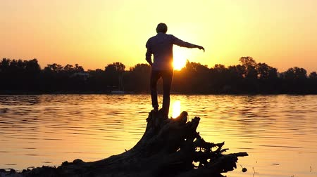 submerge : Young man stands on the tree roots on a lake bank in slo-mo Stock Footage