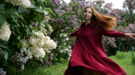 kıllar : Smiling girl is spinning in a red dress near the lilac bushes in slow motion Stok Video