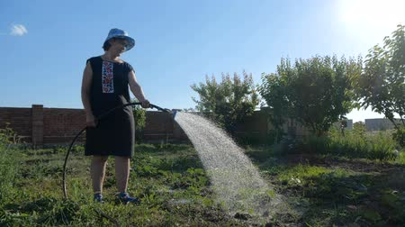 watering can : Funny woman in panama watering her garden from a shower nozzle in slo-mo