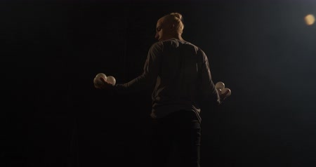 ловкость : Stylish juggler on the stage throw ball his leg to his arm. T