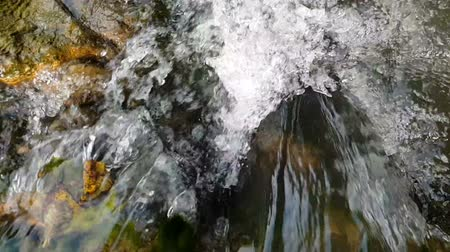 hurry up : Rapid streams of water falling among stones energetically in summer in slo-mo