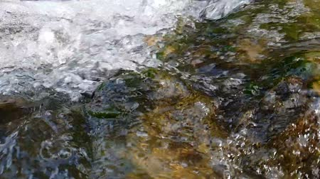 hurry up : Quick streams of water rushing among stones energetically in summer in slo-mo