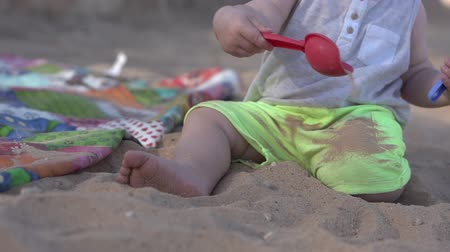 sander : Cute little baby plays on the beach with paddle, rake and sand.
