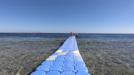 pontoon : Pontoon bridge in the red sea in slow motion Stock Footage