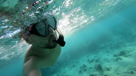 flippers : Young man with diving mask swimming in Red Sea, slow motion