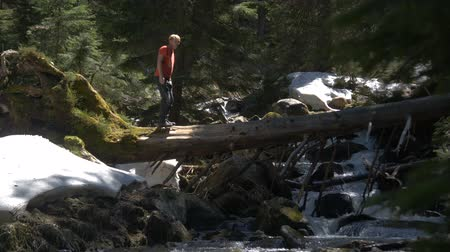 wooden bridge : Young man in a Tshirt crossing a mountain gorge by going on a tree in slo-mo