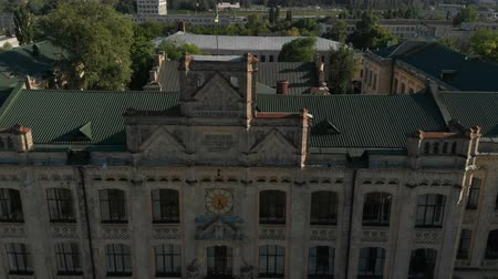 impressive skyline : Aerial of a grand historic house of Kyiv Polytechnical Institute with a clock in summer