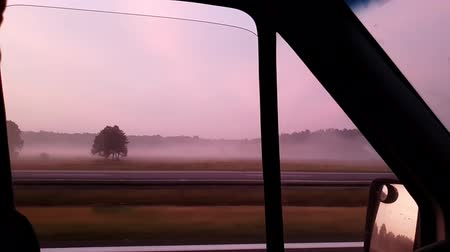 norme : Misty meadows and wood stripes seen from a moving auto window in summer