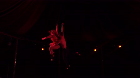 akrobata : Two equilibrists flying under circus dome at night