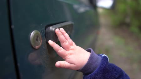 denemek : Little baby is trying to open an old car handle outdoors in spring in slo-mo Stok Video