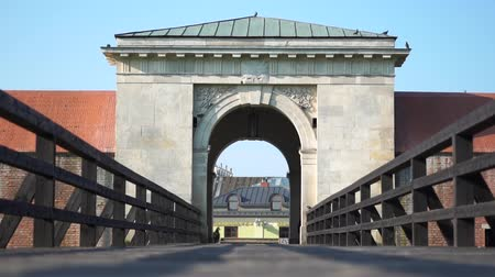 The gate and bridge to the old city near which pigeons fly. Red car moves near gates.