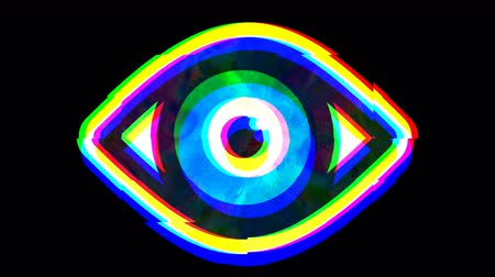 errado : Shimmering vibrating open eye symbol, glitch effect animation lo