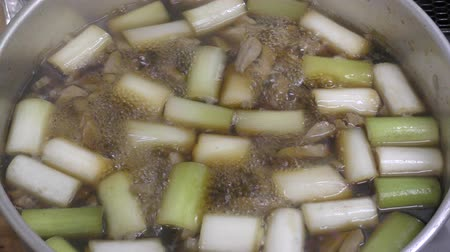 Boiling Mixed Cut Welsh Onion and Cut Tuna Hot Pot Called Negima-nabe (Negima Hot Pot)