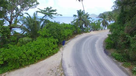 takamaka : Aerial View Of Car Passing Down The Road Near The Beach, Seychelles