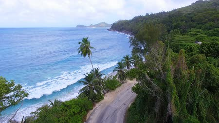 takamaka : Aerial View Of Anse Takamaka Bay And The Road 1, Mahe Island, Seychelles