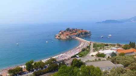 Aerial View Of Hotels on The Island, Montenegro, Sveti Stefan 1 Stock Footage