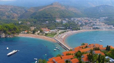 Aerial View Of Hotels on The Island, Montenegro, Sveti Stefan 3 Stock Footage