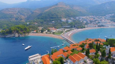 sail rock : Aerial View Of Hotels on The Island, Montenegro, Sveti Stefan 4