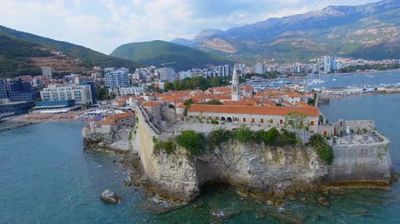 日傘 : Aerial View Of Budva Old Town Rock and Tower, Montenegro 1