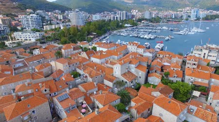 Aerial View Of Budva Old Town Tower and Pier, Montenegro 1