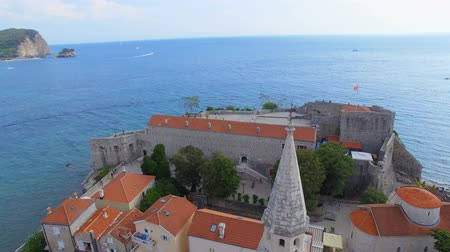sail rock : Aerial View Of Budva Old Town Tower, Montenegro 1