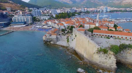 sail rock : Aerial View Of Budva Old Town and Beach, Montenegro 14 Stock Footage