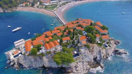 Aerial View Of Hotels on The Island, Montenegro, Sveti Stefan 8 Stock Footage