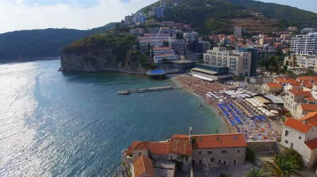 Aerial View Of Budva Old Town Beach, Montenegro 1 Stock Footage