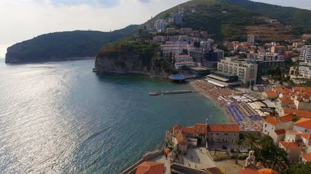 Aerial View Of Budva Old Town Beach, Montenegro 2 Stock Footage