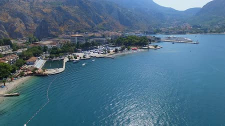 sail rock : Aerial View Of Boka Kotorska Bay, Kotor, Montenegro 3 Stock Footage