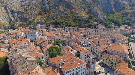 Aerial View Of Kotor Old Town And Mountains, Boka Kotorska, Montenegro 3 Stock Footage