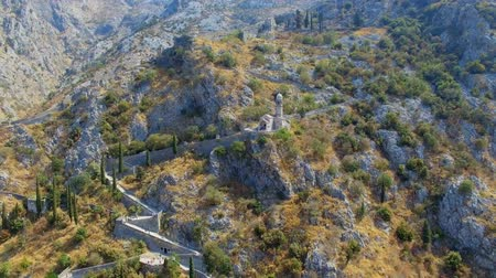 Aerial View Of A Church Chapel In The Mountains, Kotor, Montenegro 2 Stock Footage