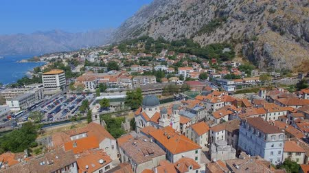 Aerial View Of Kotor Town, Bay and Mountains, Montenegro 2 Stock Footage