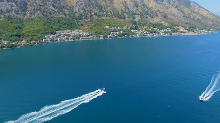 Aerial View Of Speed ??Boats In Boka Kotorska Bay, Montenegro 1 Stock Footage