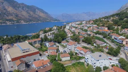 Aerial Panorama Of Kotor Town, Bay and Mountains, Montenegro