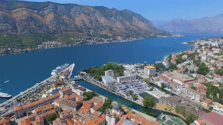 Aerial View Of Kotor Pier, Town And Mountains, Boka Kotorska, Montenegro 2