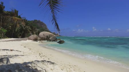 Walking On Beautiful Beach, Anse Source dArgent, La Digue, Seychelles 1 Stock Footage