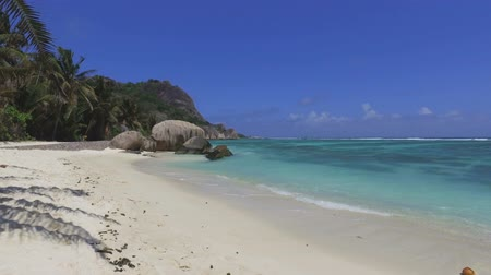 anse : Walking On Beautiful Beach, Anse Source dArgent, La Digue, Seychelles 1 Stock Footage