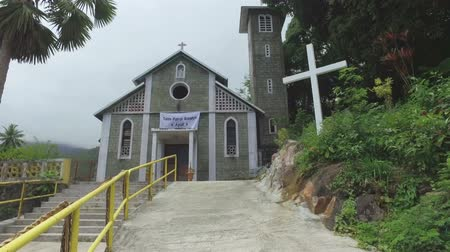 mahe : Walking to The Catholic Church, Mahe Island, Seychelles Stock Footage