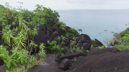 mahe : View Of The Indian Ocean And Rocks, Mahe Island, Seychelles Stock Footage