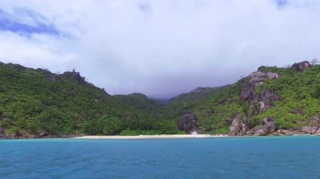 mahe : View Of The Anse Du Riz Beach from The Boat On Cloudy Wheather, Seychelles 4