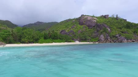 anse : View Of The Anse Du Riz Beach from The Boat On Cloudy Wheather, Seychelles 3