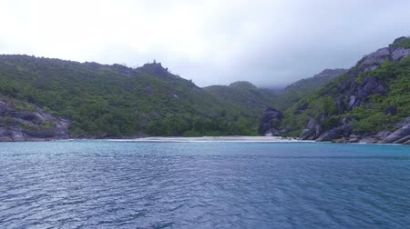 mahe : View Of The Anse Du Riz Beach from The Boat On Cloudy Wheather, Seychelles 1