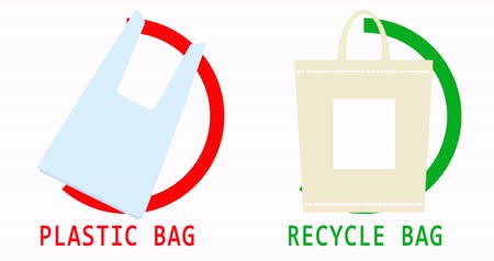 demolição : 4K video. Plastic and recycling bags. Ban and permissive signs. Environmental Protection. Say no to plastic bags and use organic bags