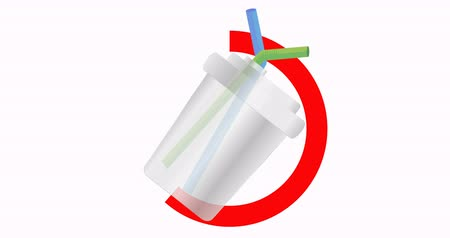 lids : Disposable plastic cup with drinking straw. No plastic. Pollution problem. Environmental Protection. Say no to plastic products. Warning sign. 4K video Stock Footage